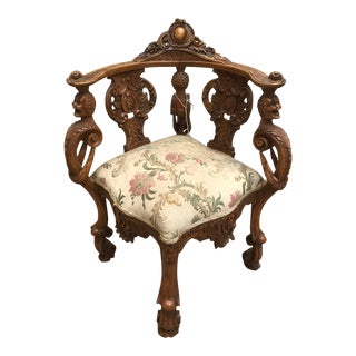 19th Century Italian Carved Corner Chair For Sale