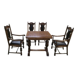 English Traditional Oak Small Dining Set - 5 Pieces For Sale