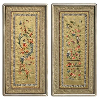 Pair of Chinese Republic Silk Tapestries For Sale