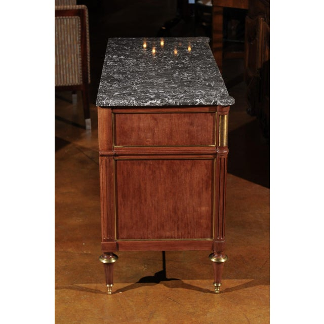 French French Louis XVI Style Late 19th Century Grey Marble Top Three-Drawer Commode For Sale - Image 3 of 12