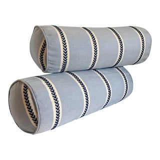 Indoor/Outdoor Thibaut Bolster Pillows, Pair For Sale