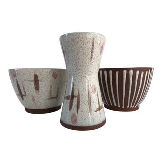 1950s Mid-Century Modern Vintage Walter Sullivan Roche Pottery Assortment - Set of 3 For Sale