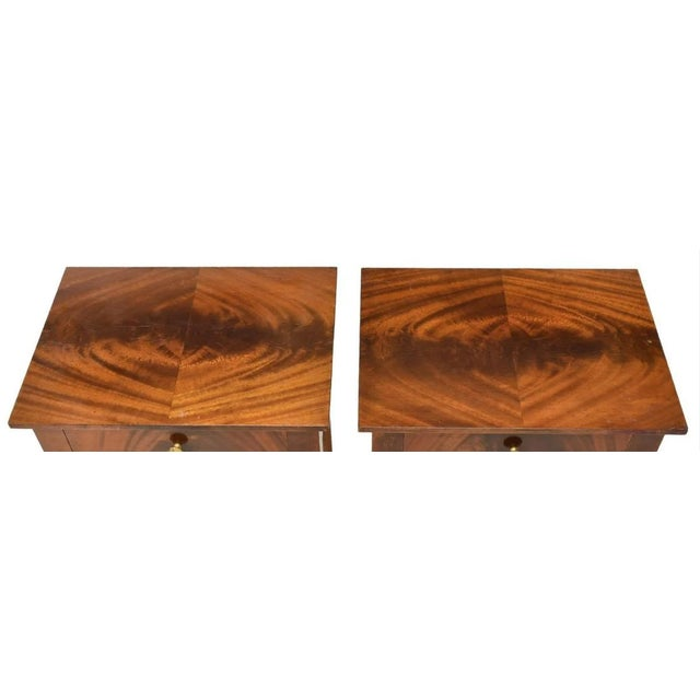 Antique French Empire Bookmatched Mahogany Swan Head Nightstand or Side Table - a Pair For Sale - Image 4 of 7