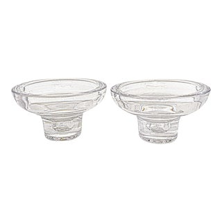 Dansk Mid Century Modern Round Large Crystal Candle Holder - a Pair For Sale