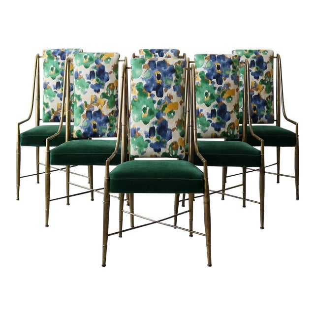 """Set of 6 Solid Brass Faux Bamboo """"Imperial"""" Dining Chairs by Mastercraft For Sale"""