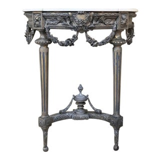 19th Century French Louis XVI Painted Marble Top Console For Sale