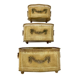 Vintage Neoclassical Tole Planters Cachepot Set of 3 For Sale