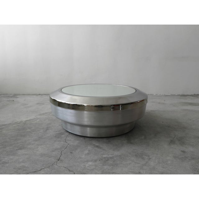 Beautiful Spun Aluminum, Chrome and Mirror Drum Canister Coffee Table by architect Gary John Neville. Top is removable to...