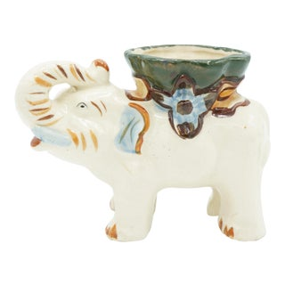 Antique Ceramic Glazed White Elephant Cachepot Planter For Sale
