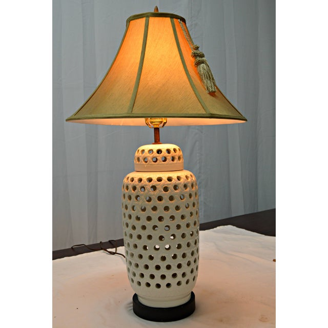 Yellow Mid-Century White Perforated Porcelain Table Lamp For Sale - Image 8 of 9