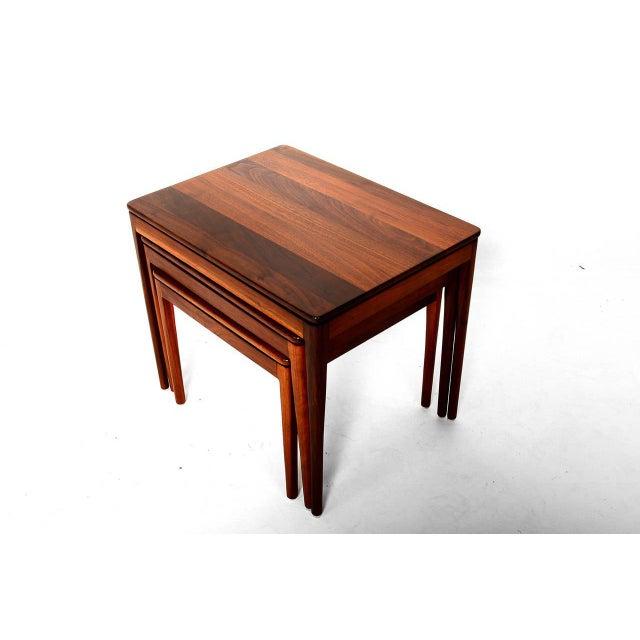 Mid-Century Modern Set of 3 Kipp Stewart for Drexel Walnut Nesting Tables For Sale - Image 3 of 5