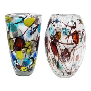 Set of Two Unique Murano Glass Vases For Sale