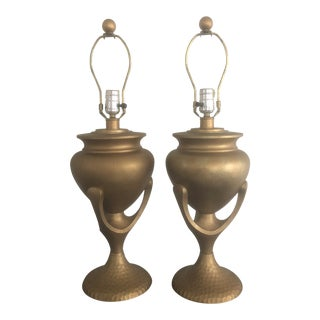 Mid 20th Century Heyco Gold Metal Lamps - a Pair For Sale