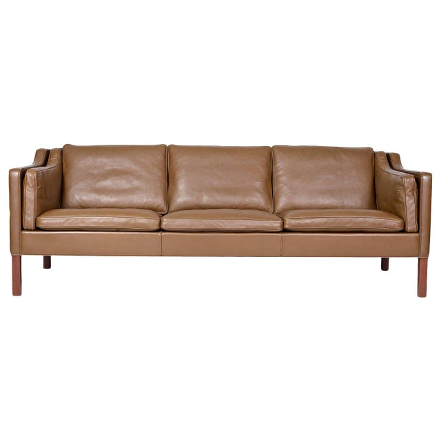 Borge Mogensen Model #2213 Three-Seat Leather Sofa For Sale