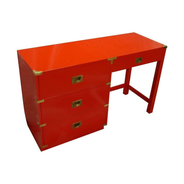 Drexel Heritage Lacquered Campaign Desk For Sale In Dallas - Image 6 of 6