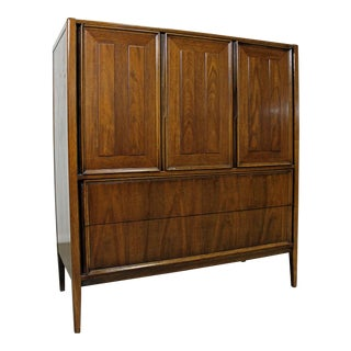 Mid-Century Modern Walnut Tall Chest/Armoire Dresser For Sale
