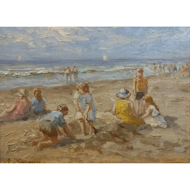 "Anton Karssen ""Children Day at the Beach"" Original Oil Painting - Image 3 of 10"