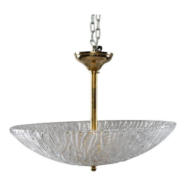 Barovier and Toso Umbrella Form Fixture With Brass Fittings For Sale