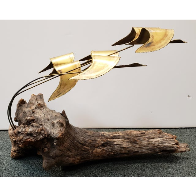 Mid-Century Modern Mid 20th Century Metal Geese in Flight on Driftwood Base Sculpture For Sale - Image 3 of 5