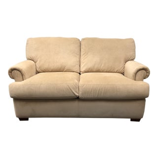 American Leather Tan Upholstered Roll Arm Sofa