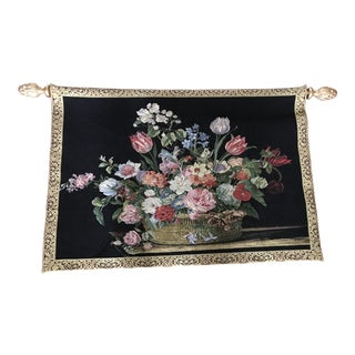 Vintage Mixed Flower Rose Bouquet Tapestry For Sale