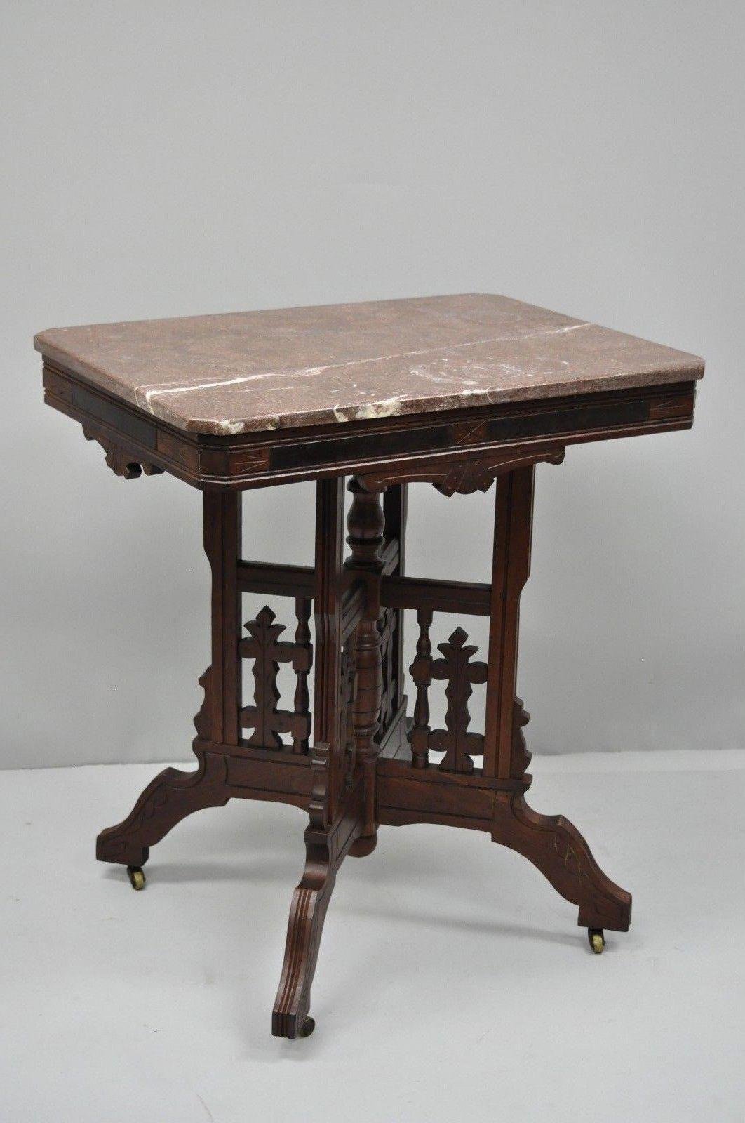 Superbe Antique American Eastlake Victorian Marble Top Parlor Side Table Details:  Purple Marble Top, Rolling