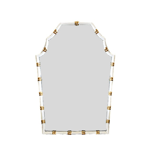 Chinoiserie Dana Gibson Bamboo Mirror in White For Sale - Image 3 of 3