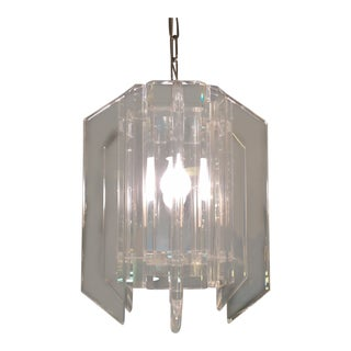 Mid-Century Lucite Panel Chandelier For Sale