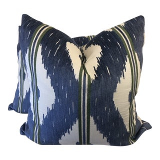 """Ikat Stripe 22"""" Pillows-A Pair For Sale"""