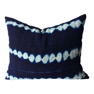"""African Custom Made Indigo Cloth Pillow 19"""" by 15"""" For Sale"""