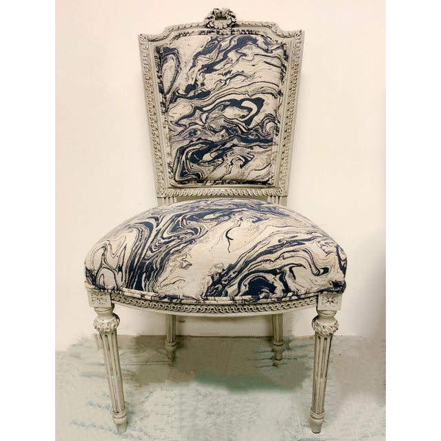 """Set of 6 antique French dining chairs. The finish and upholstery are new. Seat height; 19"""". Seat Depth fabric only; 18""""."""