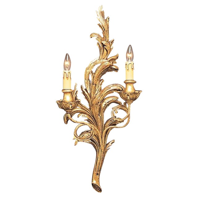 Italian Two-Light Gold Hand Carved Wood Sconce - Image 1 of 3