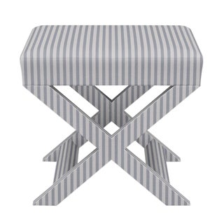 X Bench in Grey Fairfield Stripe For Sale