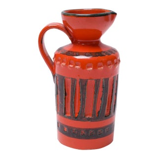 Mid Century Italian Modern Incised Orange and Green Pitcher For Sale