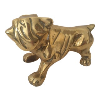 Mid-Century Solid Brass English Bulldog Statue Paperweight For Sale