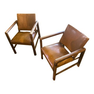1950s Mid Century Leather Chairs - a Pair For Sale