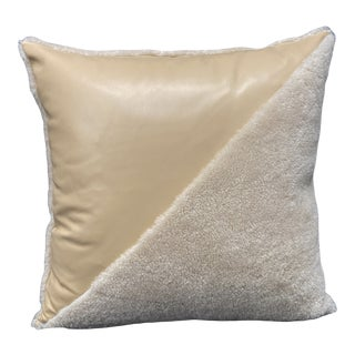 Beige Leather and Sheepskin Pillow by Tasha Tarno For Sale