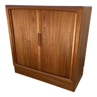 h.p. Hansen Teak Tambour Storage Cabinet | Entertainment or Drybar For Sale