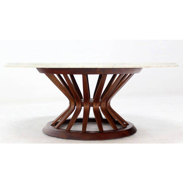 Luxury Mid Century Modern Oiled Walnut Base And Marble Top Coffee - Walnut and marble coffee table
