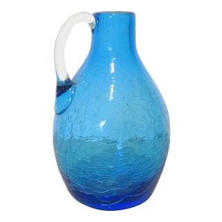 Blenko Blue Crackled Glass Pitcher For Sale