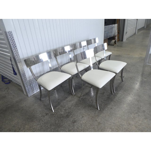 Modern Post Modern Chrome / Aluminum Klismos Dining Chairs - Set of 6 For Sale - Image 3 of 13