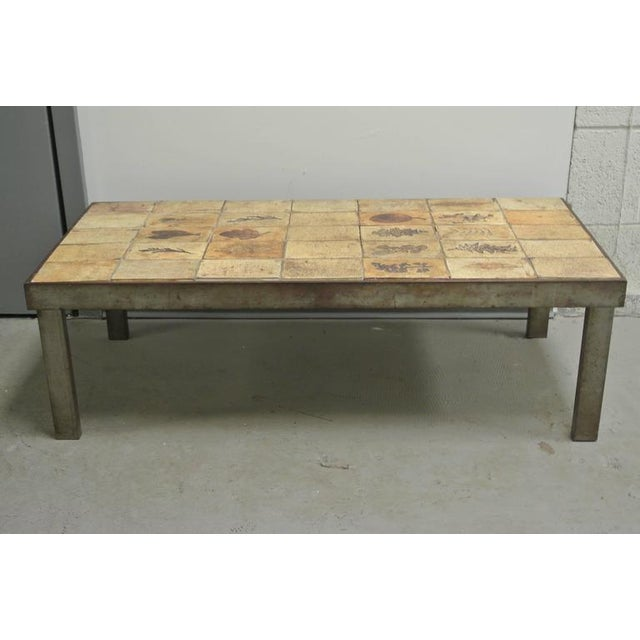 Metal and Tile Coffee Table w. Garrigue Tiles by Roger Capron
