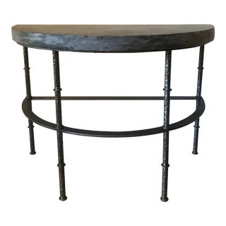 Industrial Restoration Hardware Rowen Bluestone Demilune Console Table For Sale