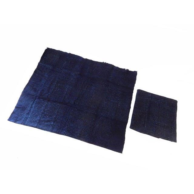 Malian Indigo Mud Cloth Textiles - S/2 For Sale