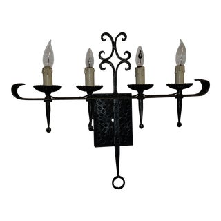 Vintage Arts and Craft Hammered Wrought Iron Wall Sconce Candelabra For Sale