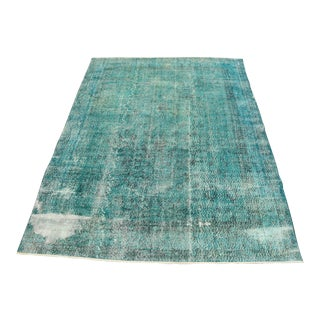 "Turkish Ocean Blue Area Rug Overdyed Handmade Area Rug Vintage Bohemian Wool Rug Weave Decorstive Rug 7'2"" X 9'4"" For Sale"