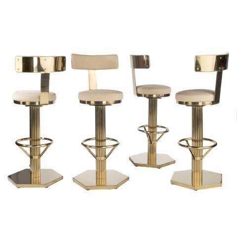 Hollywood Regency Oscar Gold Bar Chair For Sale - Image 4 of 5