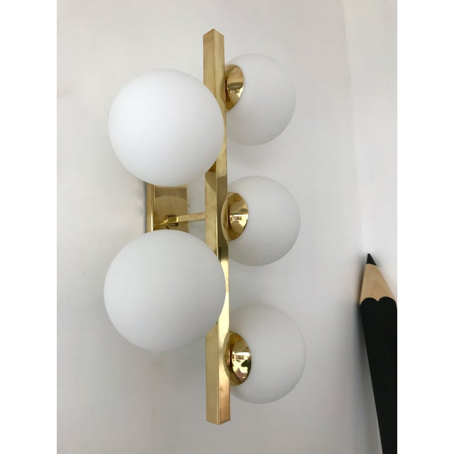 Contemporary Contemporary Brass Sconces Opaline Glass Ball, Italy For Sale - Image 3 of 11