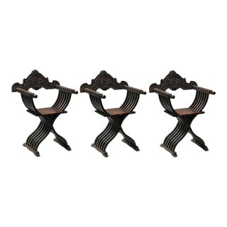 Early 20th Century Italian Renaissance Savonarola Style Hand Carved Armchairs - Set of 3 For Sale