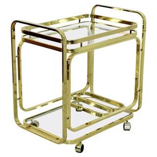 1970s Mid-Century Modern Baughman DIA Brass 2-Tiered Rolling Serving Bar Cart For Sale